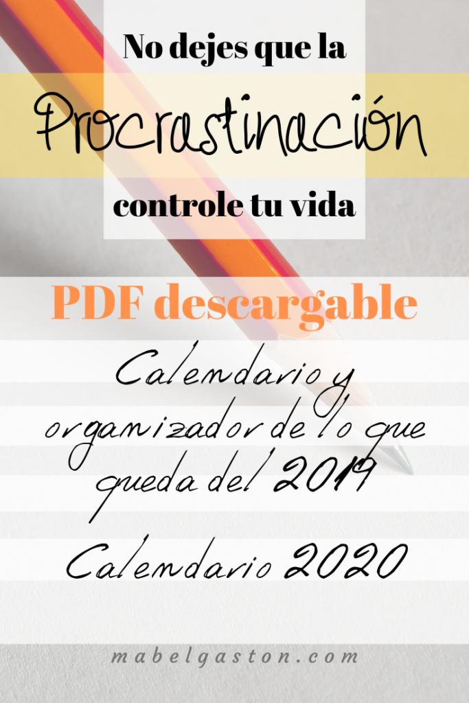 PDF descargable de calendarios y organizador